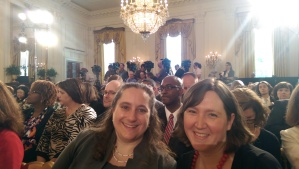 Andrea Kurtz, Director of the Ten-Year Plan to End Chronic Homelessness in Winston Salem and Denise Neunaber, Executive Director of the North Carolina Coalition to End Homelessness, eagerly await the announcement at the White House